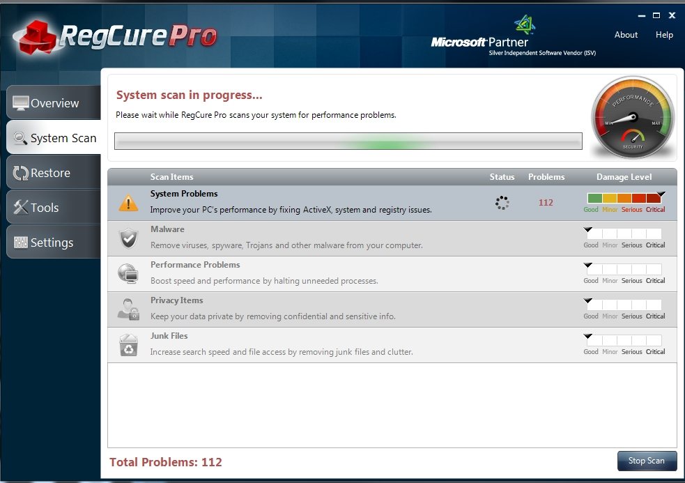 REgcure Pro Scan interface