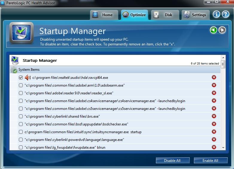 PC Health Advisor Start-up Manager