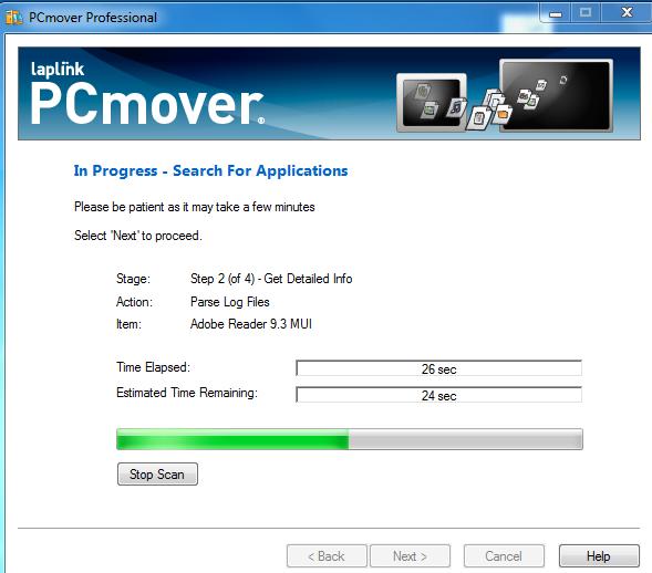 PcMover Transfer in progress