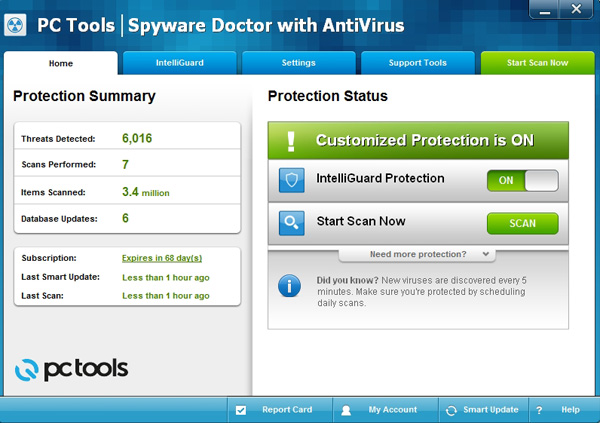 Spyware Doctor with antivius interface